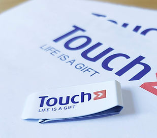 Clip Touch, clip blanco Touch, promoclip Touch, clip logo touch, sujetapapeles blanco logo touch