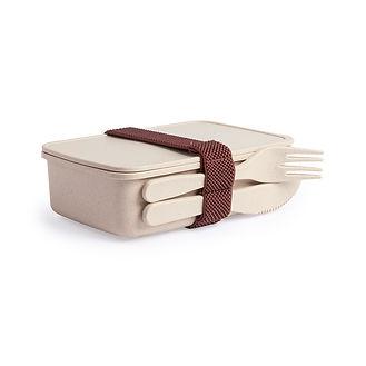 Boîte à lunch en fibre de bambou naturel avec matériau PP. Capacité de 700 ml, sans BPA et adapté aux lave-vaisselle, micro-ondes et congélateurs. Comprend du ruban adhésif, une fourchette et un couteau.