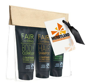 Jeu Fair Cosmethics, set de gel douche, shampoing, crème pour le corps, commerce équitable, cosmétiques durables