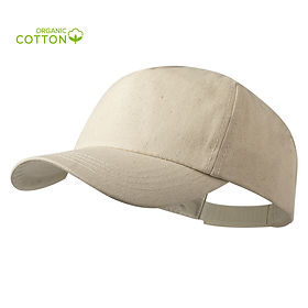 Gorra de línea nature. 5 paneles en algodón orgánico de suave acabado crudo. Con cierre ajustable de velcro y orificios de ventilación bordados, con distintivo en etiqueta.