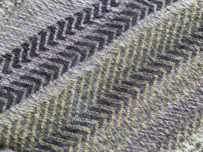 detail of Shawl knitted in 31 shades of Icelandic 100% wool einband yarn, all dyed with Sticta coronata