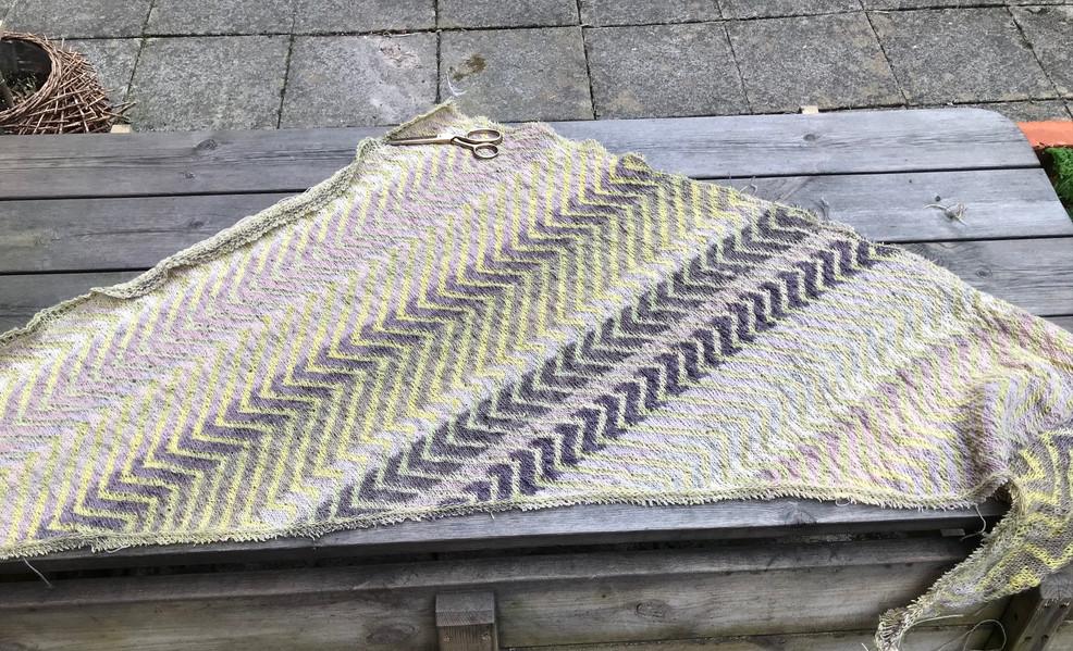 Shawl knitted in 31 shades of Icelandic 100% wool einband yarn, all dyed with Sticta coronata