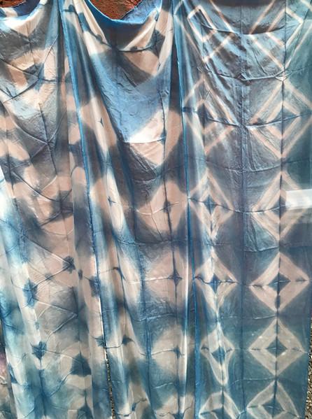 Indigo dyed shibori silk scarves