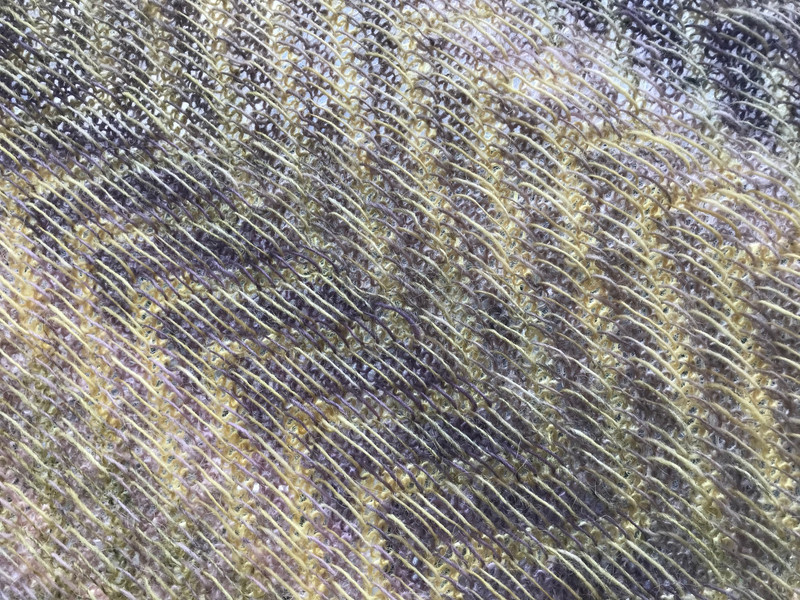 detail of reverse of Shawl knitted in 31 shades of Icelandic 100% wool einband yarn, all dyed with Sticta coronata