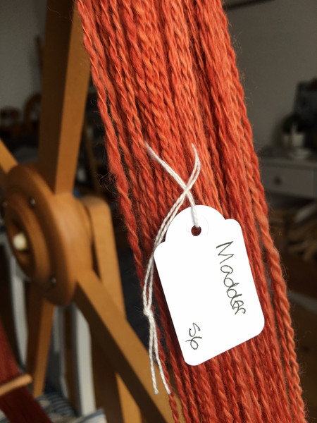 Skein of yarn dyed with Madder root
