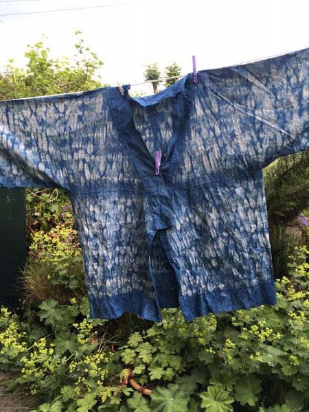 Indigo dyed shibori linen jacket