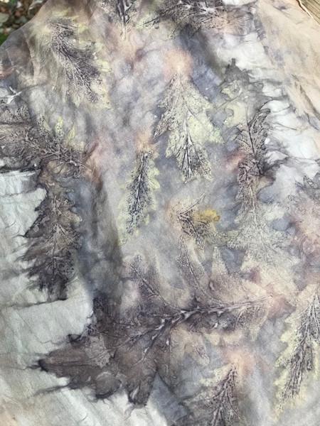Turkey Oak leaves on silk