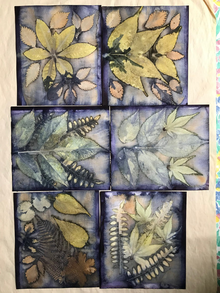 mixed leaves on paper