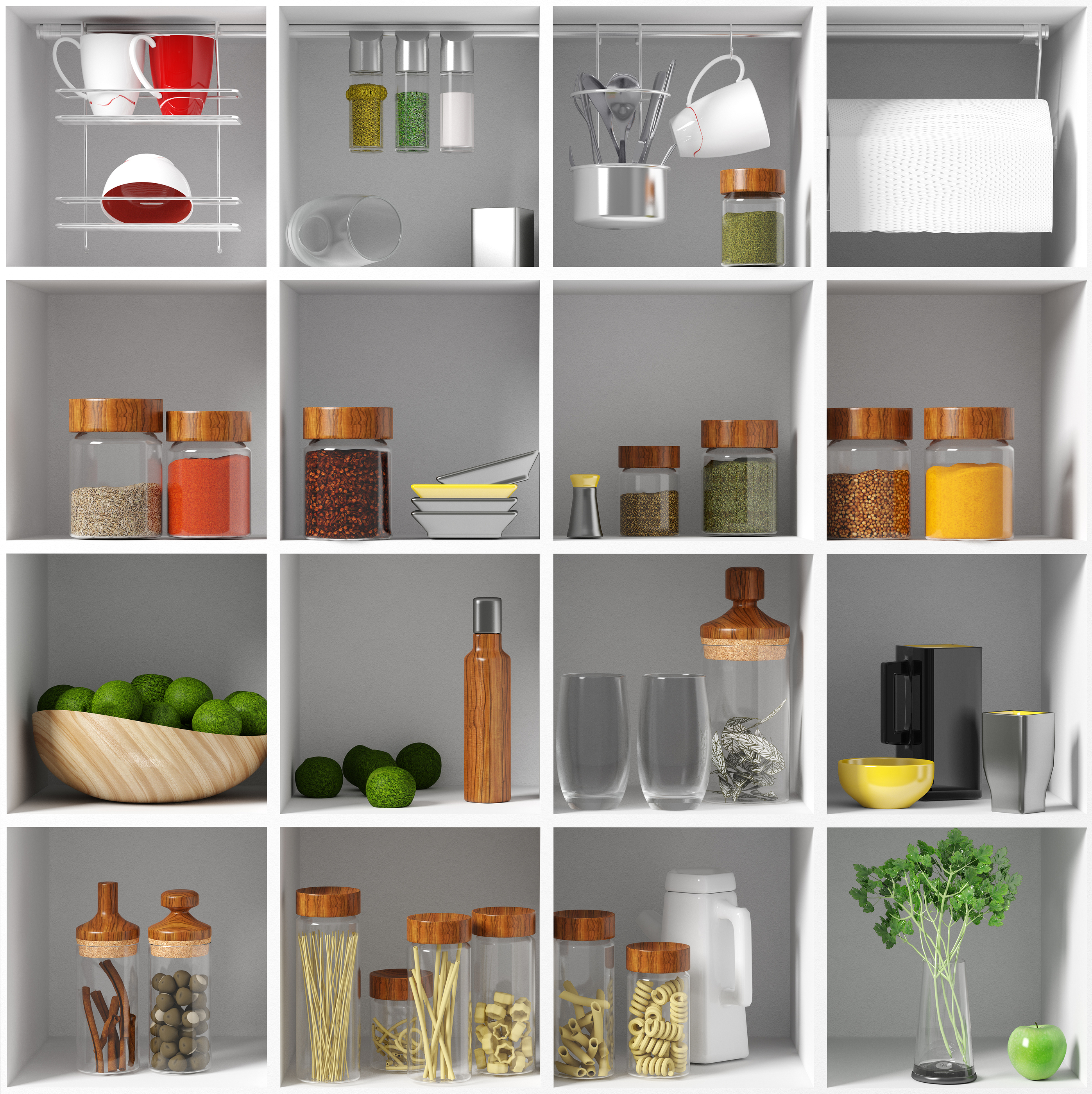 Organised kitchen shelves