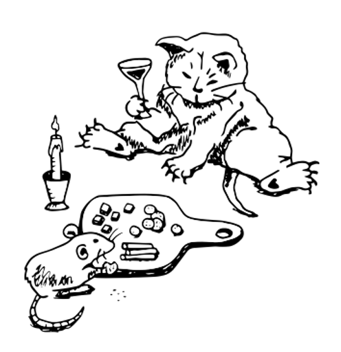 The Other People Fund Logo Cat and Rat Eating Charcuterie Board