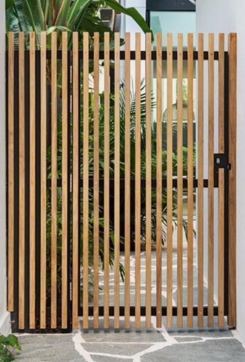 Wooden battens door