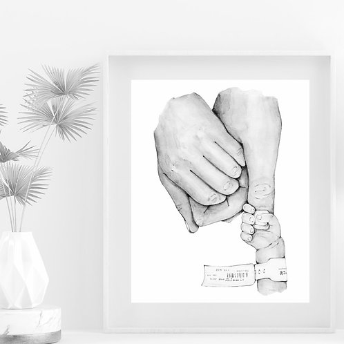 Black and White Mother and father holding Baby Hands