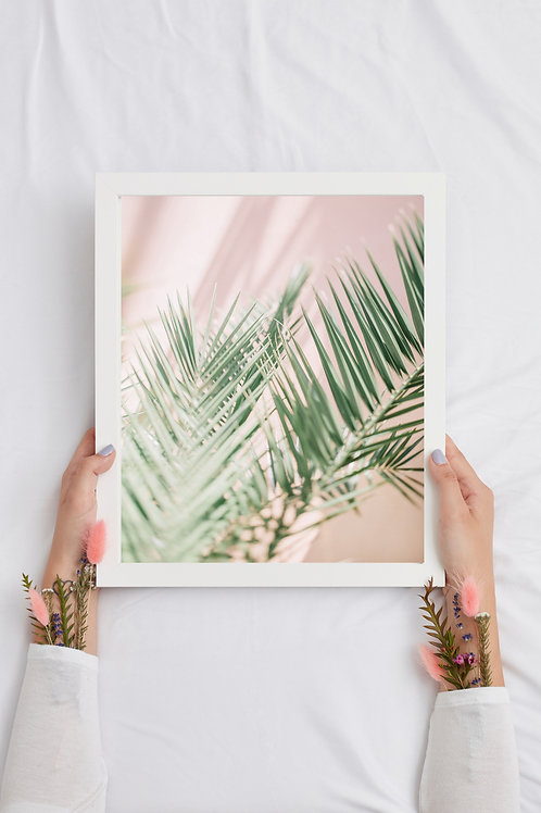 Plant Print with Pastel Pink Background