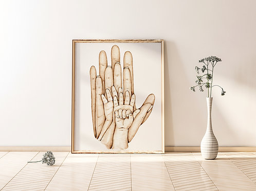 A4 Family Hands Print - Parents with three children