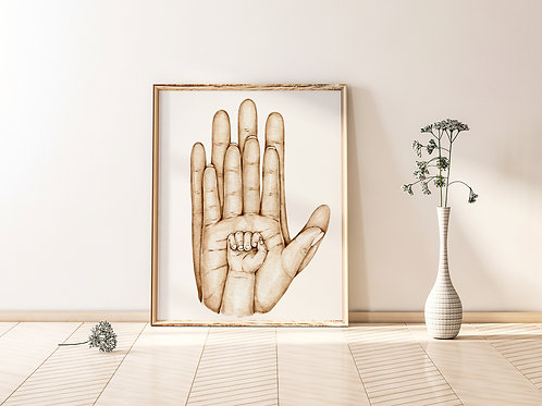 A4 Family Hands Print - Mother Father One child
