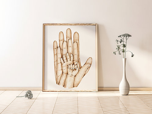 A4 Family Hands Print -Parents with two children