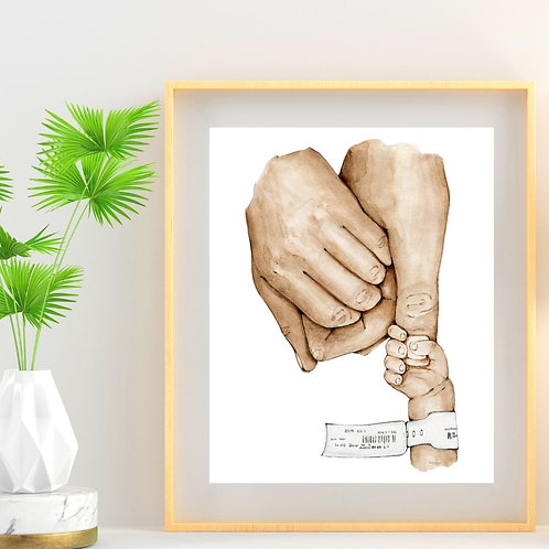 Mother Father Holding Baby Print
