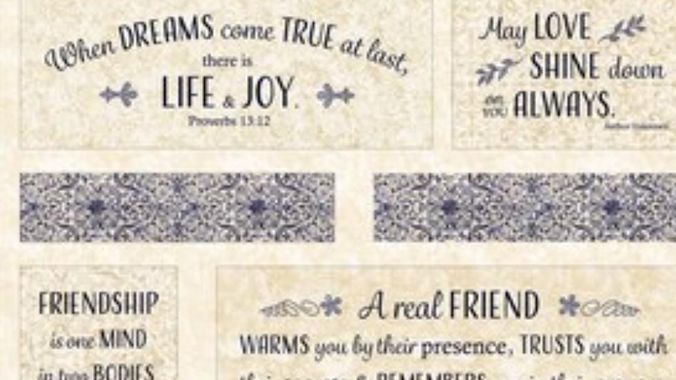 "Timeless Treasures Life & Joy Friendship 36"" Panel London Blues"