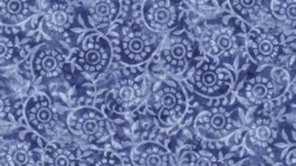 Timeless Treasure London Blue, Stamped Pattern in Blue