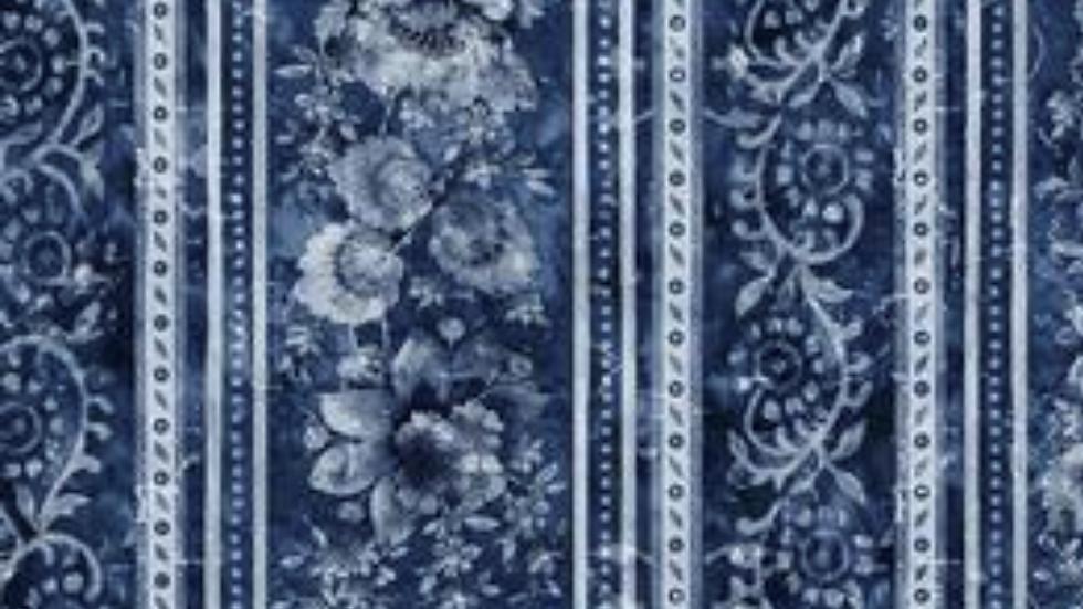Timeless Treasures London Blues Elegant Stamped Floral Stripe