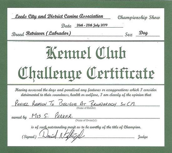 Challenge Certificate | 2019 Leeds