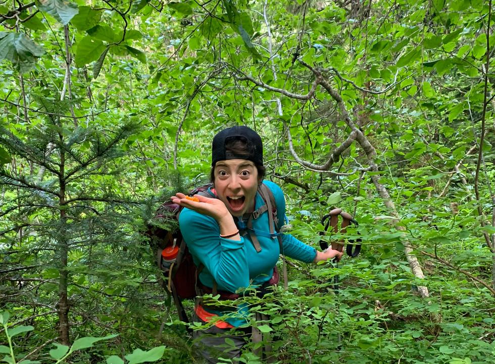 Woman-peeking-through-bushes-on-hike