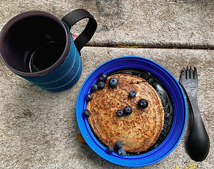 Blueberry-pancakes-with-coffee-close-up