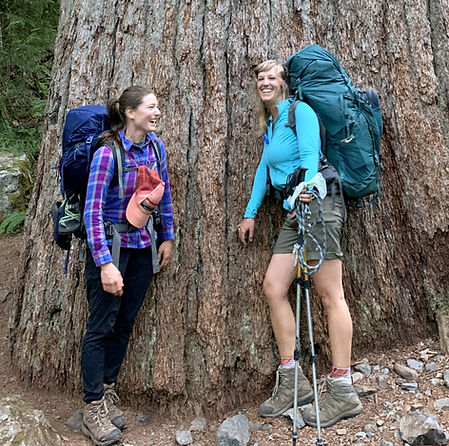 Two women on backpacking trip