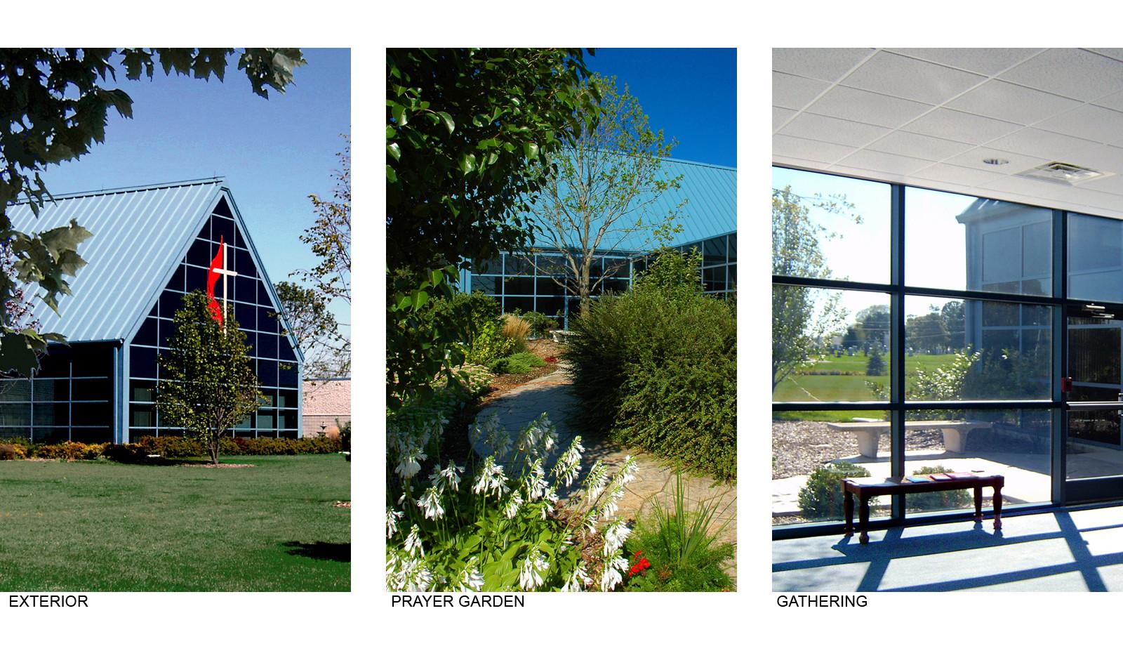 Cornerstone UMC Exterior, Prayer Garden and Gathering Space