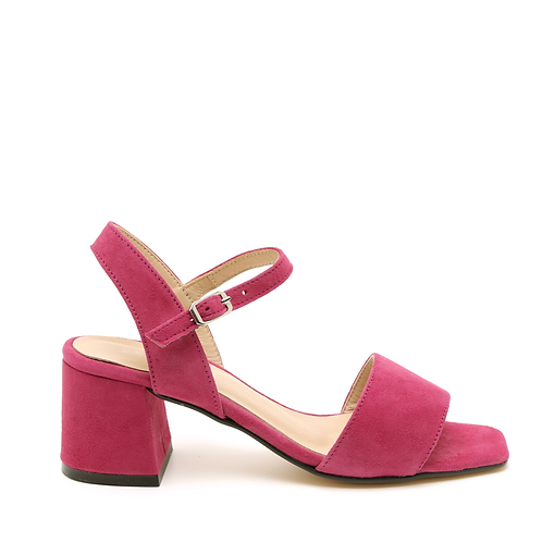 Raspberry Block-heeled Sandals Square-Shaped Toe Size 33-34