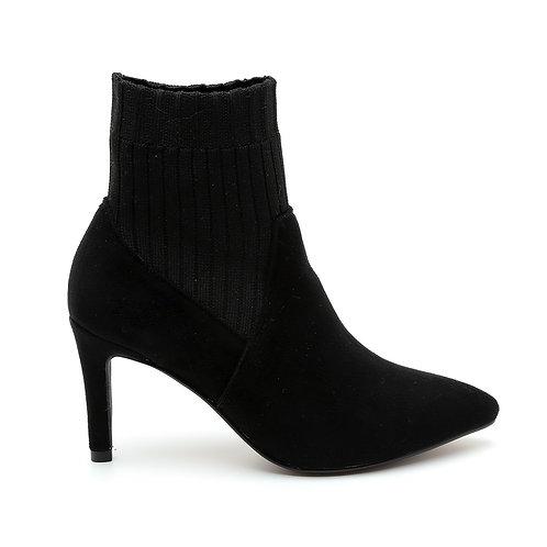 Black Upper SockThin Heel Ankle Boots Size 33