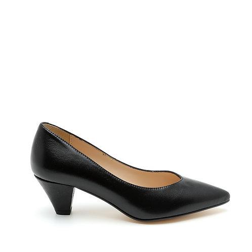 V-Neck Leather Black Pumps Size 32-35