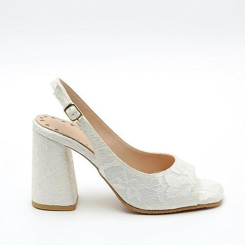 White Lace Sling-Back Peep Toe Sandals Size 34
