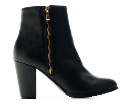Black Zip High Heel Ankle Boots Size 32-35