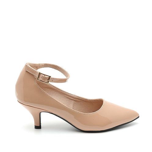Beige Patent Ankle Strap Pumps Size 32-35