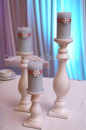 Kerzenständer Set 3 Stück verschieden groß, weiß