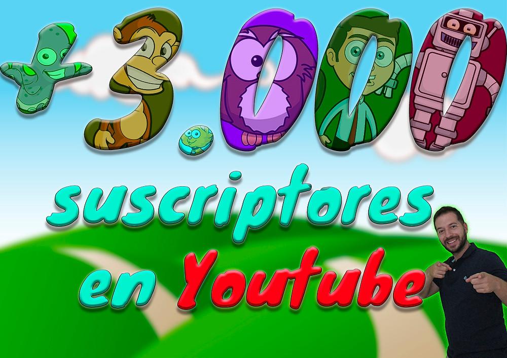 Más de 3000 suscriptores en Youtube