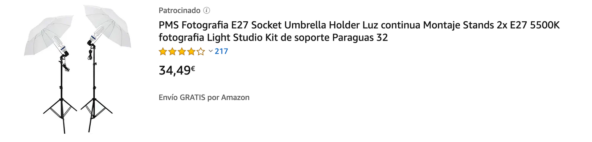 """▶ 2 x Bombilla: 80W, 5500K, 220-240V, E27, Ra>85- vienen 2 unidades(Hemos actualizado los bulbos, más brillante que antes). ▶ 2 x Lighting Soporte / paragüero(68CM-200CM,Diámetro max: 25mm) ▶ 2 x zócalo de la luz Holder ▶ 2 x 32""""(84cm) Blanco Umbrella ▶ Tiempo de vida >10000 horas"""