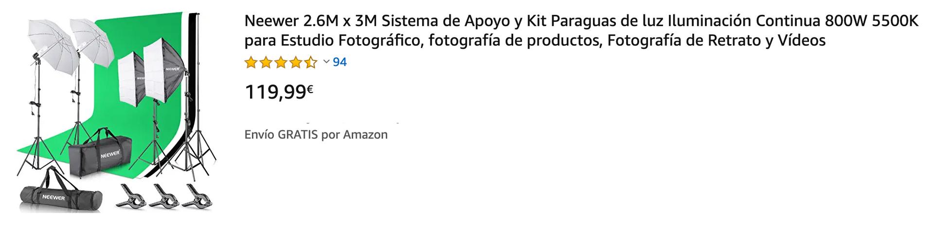 ▶ El kit incluye:(4) 200cm Base de lámpara+(2)Sostenedor solo de luz de cabeza+(4)45W CFL Bombilla de luz diurna +(2) 84cm Paraguas+(2) 60x60cm Caja de luz+(1)1.8 x 2.8M Telón de fondo de muselina (Negro, blanco y verde)+(6)Abrazaderas de Fondo+(1)2.6M x 3M Antecedentes Sistema de Apoyo+(1)Bolsa de transporte para el Sistema de Apoyo+(1)Bolsa de transporte para el kit ▶ (4) 200cm Soporte de luz: Muy estable con piernas de 3 etapas. Y utilizar las cerraduras rápidas sola acción, que permiten el ajuste de altura rápido precisión (2) El sostenedor de la luz sola cabeza permite usar una bombilla a un soporte de luz y añadir un paraguas ▶ (2) El 84cm paraguas blanco translúcido puede suavizar, ampliar y difundir la salida de luz de cualquier fuente de flash de tungsteno o estudio (4) 45W día-luz bombillas de estudio: Es igual a 200 W incandescente normal de salida bombilla fluorescente. 5500K bombilla espiral fluorescente genera una luz parecida a la luz natural. Es mejor para la iluminación fotográfica ▶ (2) 60x60cm Softbox: Softbox difunde la luz y es perfecta para estudios de fotografía profesionales. Con enchufe E27, se puede conectar directamente a las bombillas, lámparas fluorescentes o flash esclavo ▶ (1) 6 x 9 pies Telón de fondo de muselina (Negro, blanco y verde) +(6)Abrazaderas de Fondo+(1)2.6M x 3M Antecedentes Sistema de Apoyo: El kit de fondo es ideal para la televisión, producción de video y fotografía digital.(1)Bolsa de transporte para el kit de iluminación continua+(1)Bolsa de transporte para Sistema de Apoyo: Tamaño Grande para el transporte de soportes de luz, paraguas y otros accesorios