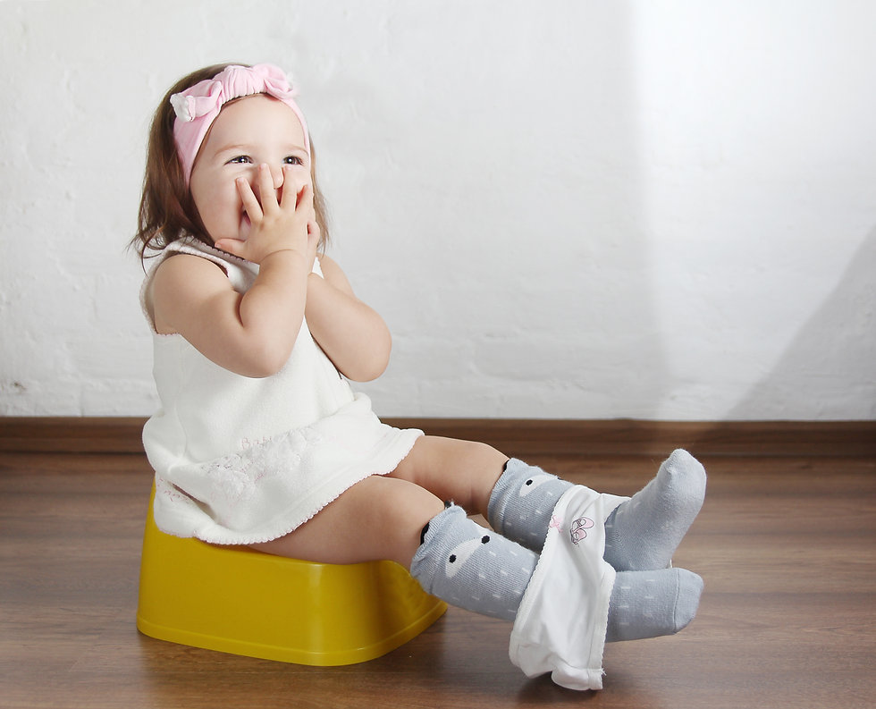 Baby girl sitting on the chamber pot, cl