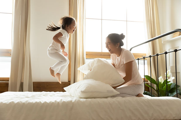 In morning carefree small daughter jump