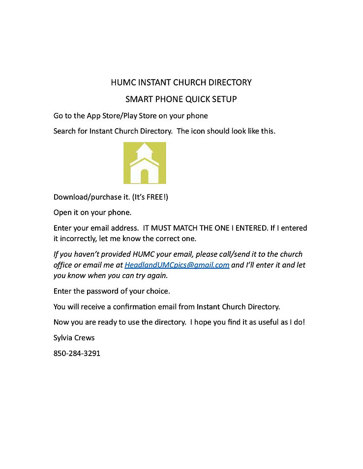 HUMC INSTANT CHURCH DIRECTORY united methodist church  headland church  humc  headland alabama church  headland united methodist