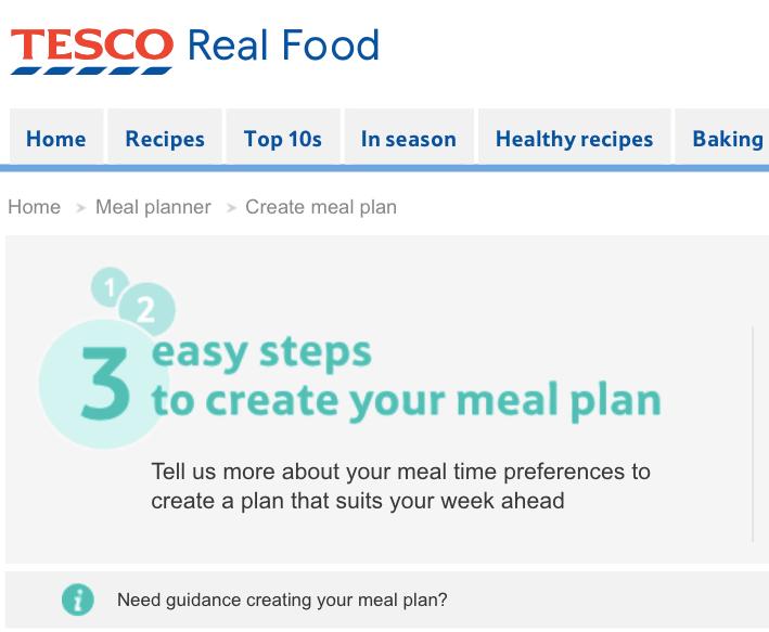 Tesco Real Food meal plan website screenshot.