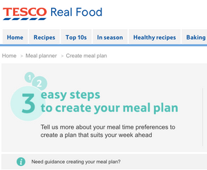 Tesco Real Food meal plan website screenshot.