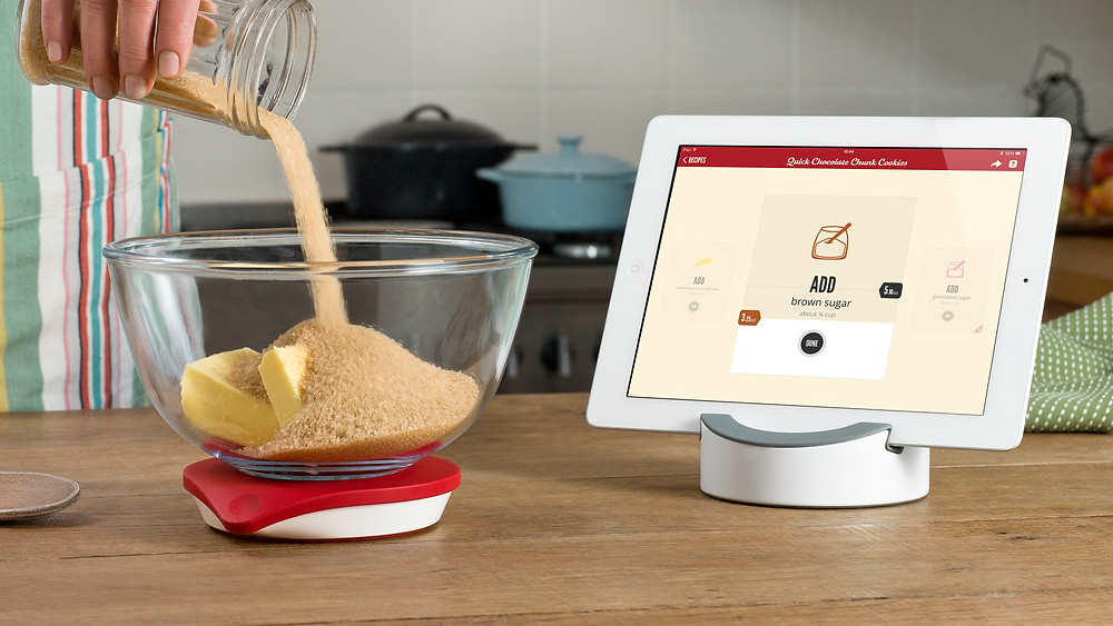 Drop kitchen scales and tablet in kitchen