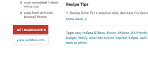 Campbell's Soup Company recipe site with 'get ingredients' button