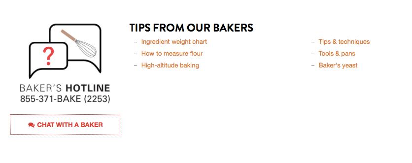 King Arthur Flour recipe site with Baker's Hotline number