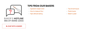 King Arthur Flour recipe site with Baker's Hotline number