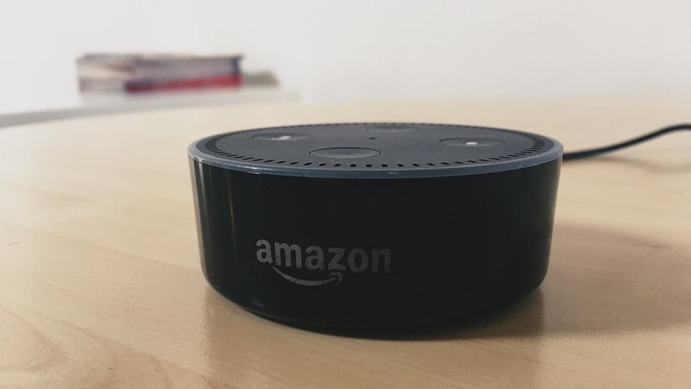 Amazon Echo device on table