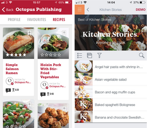 Drop app with Recipe Guru recipes and Kitchen Stories app